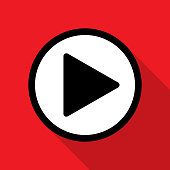 Vector illustration of a play button against a red background in flat style.