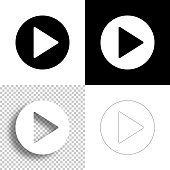 istock Play button. Icon for design. Blank, white and black backgrounds - Line icon 1296187995