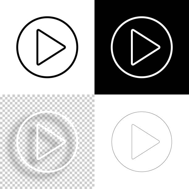 Play button. Icon for design. Blank, white and black backgrounds - Line icon vector art illustration