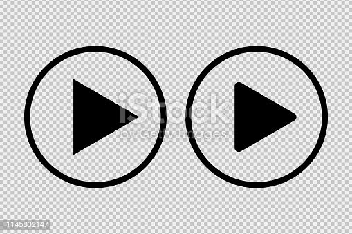Play button icon social media sign isolated on transparent background. For websiter or application. EPS 10