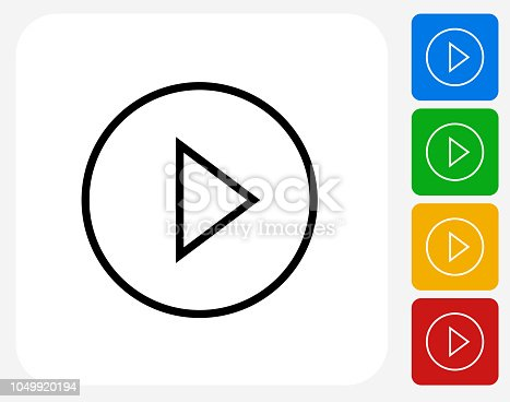 Play Button Icon. The icon is black and is placed on a square vector button. The button is flat white color and the background is light. The composition is simple and elegant. The vector icon is the most prominent part if this illustration. There are four alternate button variations on the right side of the image. The alternate colors are red, yellow, green and blue.