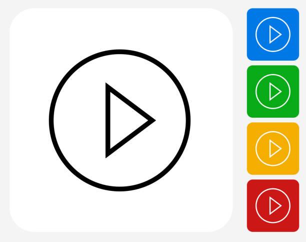 Play Button Icon vector art illustration