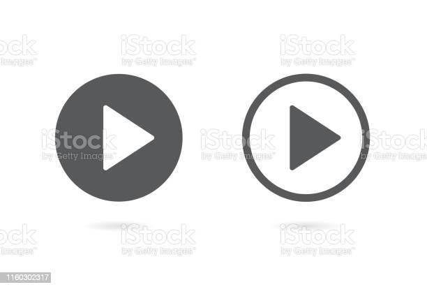 Play Button Icon Vector Illustration On White Background - Immagini vettoriali stock e altre immagini di Applicazione mobile
