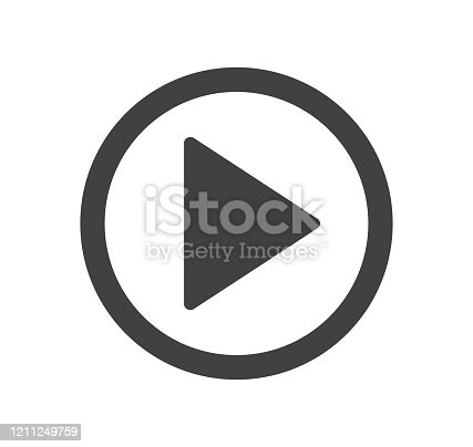 istock Play button icon. Vector illustration. on white background 1211249759