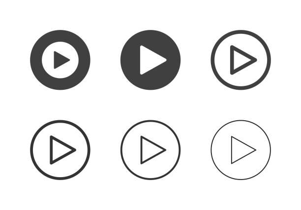 ilustrações, clipart, desenhos animados e ícones de reprodução de ícones de botão - série multi - cinema