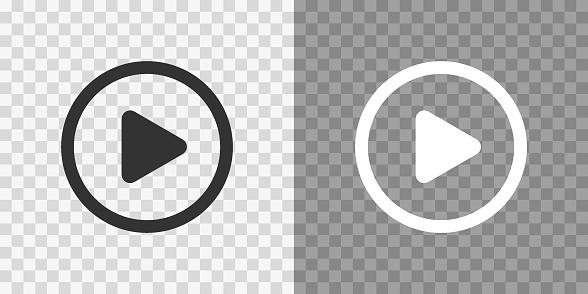 Play button icons on transparent backdrop. Digita webl vector