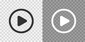 istock Play button icons on transparent backdrop. Digita webl vector 1297424553