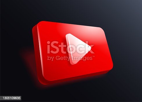 istock Play Button in 3D - red frame on dark background 1305109635