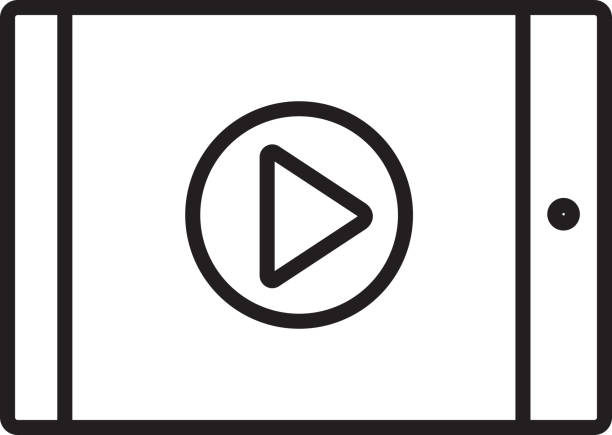 Play button on tablet Flat Simple outline line art design Icon vector art illustration
