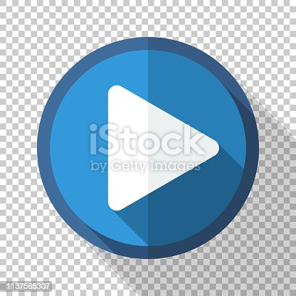 Play button or icon in flat style with long shadow on transparent background