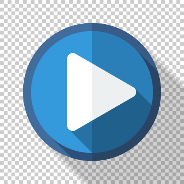 Play-Taste oder Symbol im flachen Stil mit langem Schatten auf transparentem Hintergrund – Vektorgrafik