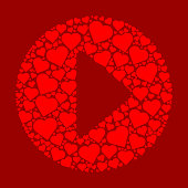 Play Button Red Hearts Love Pattern. The main object is composed of red heart icons. The vector heart icons fill in the entire shape and form a seamless pattern. The hearts are red in color and the background is a solid maroon color, The image is ideal for representing love and charity concepts.