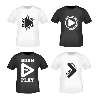 Play button stamp and t shirt mockup