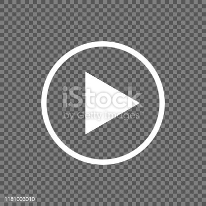 istock Play button vector icon isolated on transparent background 1181003010