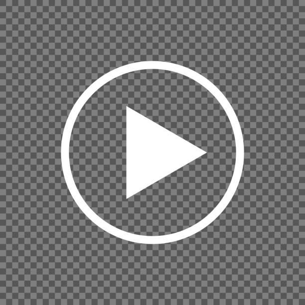 illustrazioni stock, clip art, cartoni animati e icone di tendenza di play button vector icon isolated on transparent background - cinema