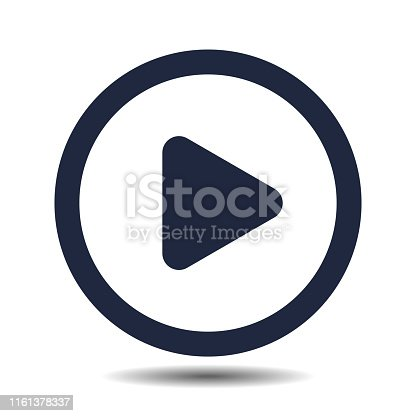 play round vector button isolated on white background