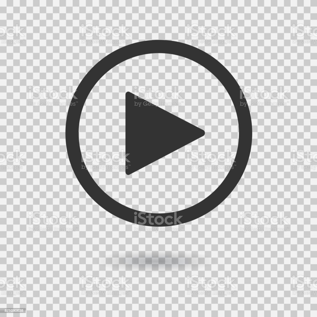 Play button with shadow on transparent background vector art illustration