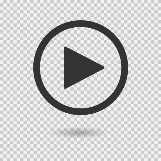 play button with shadow on transparent background - прозрачный stock illustrations