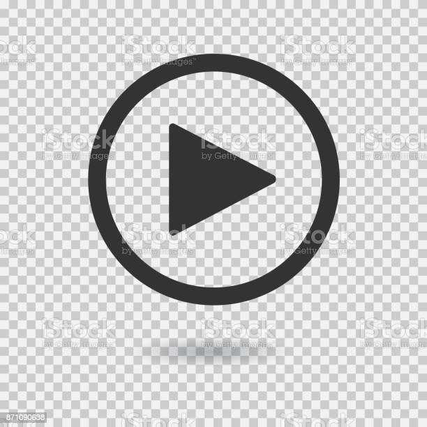 Play button with shadow on transparent background. Isolated sign for web. Vector icon.