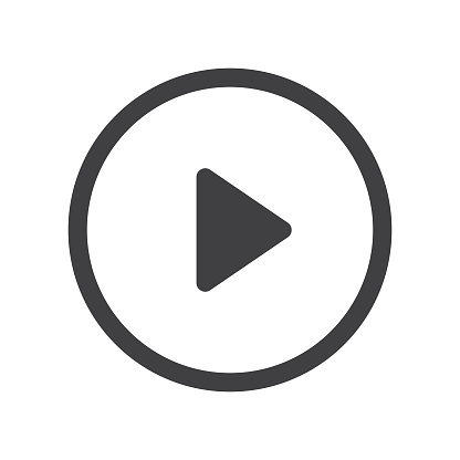 Play Button with Shadow on White Background Vector Design.