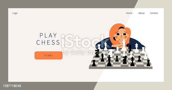 istock Play chess landing page. Cute girl plays chess. Young woman competing in chess. Leisure activity concept. Girl sitting with chessboard and chess figures. Woman thinking about next best move 1297718243
