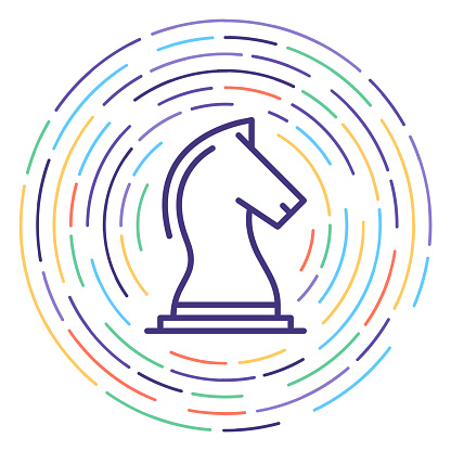 Play Chess Online Line Icon Illustration