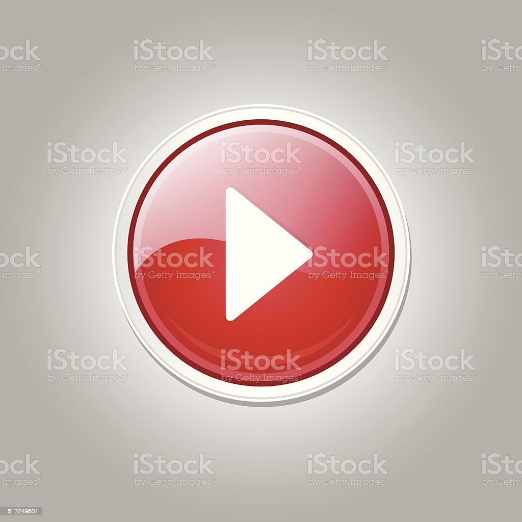 Jeu circulaire vecteur Web rouge icône bouton - Illustration vectorielle