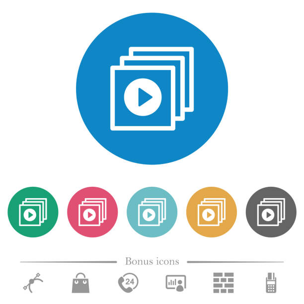 play files flat round icons - video call stock illustrations