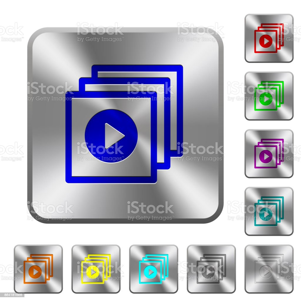 Play files rounded square steel buttons royalty-free play files rounded square steel buttons stock vector art & more images of arts culture and entertainment