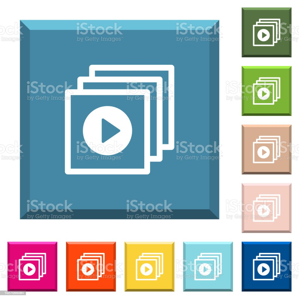 Play files white icons on edged square buttons vector art illustration