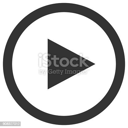 Play icon in circle. Media player control button. Vector.