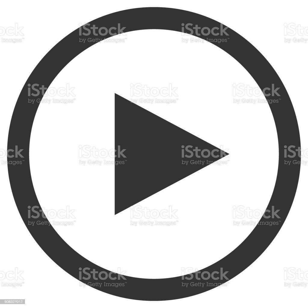 Icône de lecture en cercle. Bouton de contrôle Media player. Vector - Illustration vectorielle