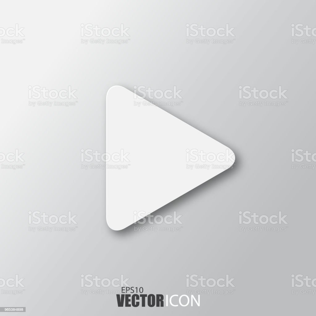 Play icon in white style with shadow isolated on grey background. royalty-free play icon in white style with shadow isolated on grey background stock vector art & more images of abstract