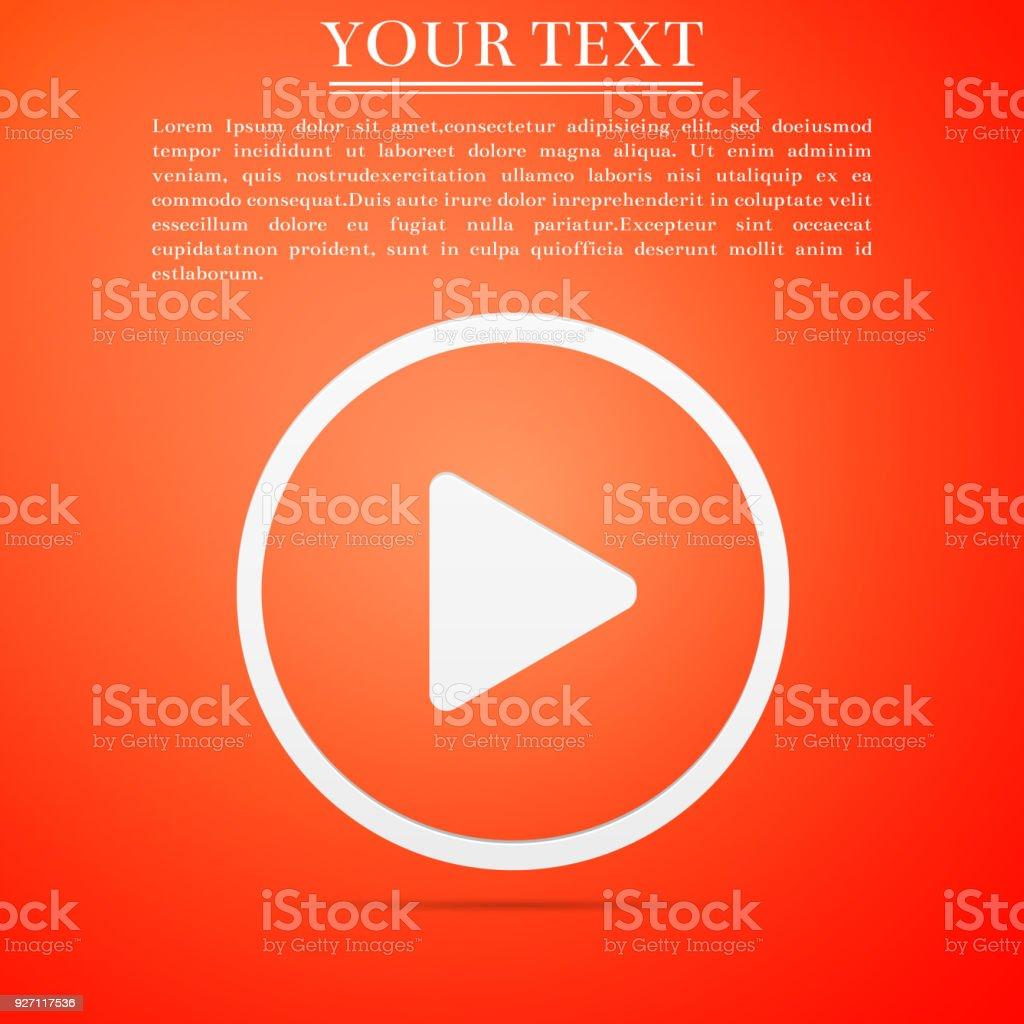 Play Icon Isolated On Orange Background Flat Design Vector