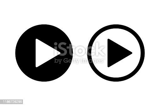istock Play icon on white background. Isolated vector sign symbol. Web media symbol. Symbol button play video. 1186726295