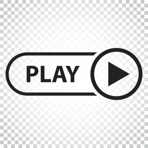 재생 아이콘 벡터입니다. 평면 스타일에서 비디오 그림을 재생 합니다. 격리 된 배경에 간단한 비즈니스 개념 그림입니다. - 놀기 stock illustrations