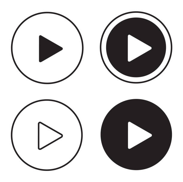 illustrazioni stock, clip art, cartoni animati e icone di tendenza di play icons - cinema
