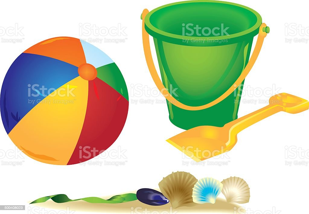 Play items used on the beach vector art illustration