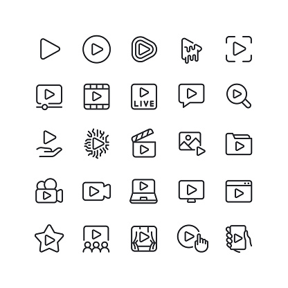 Play Line Icons Editable Stroke