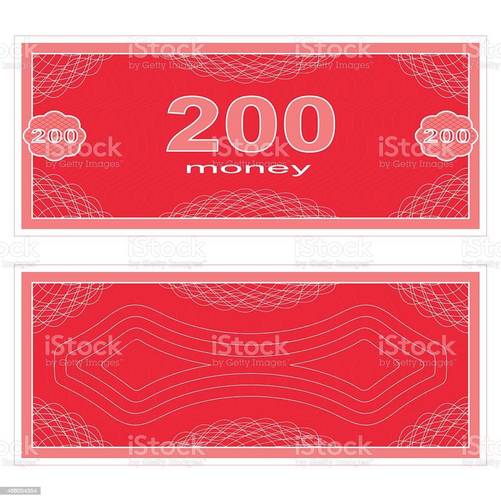 Play money. Two hundred vector art illustration
