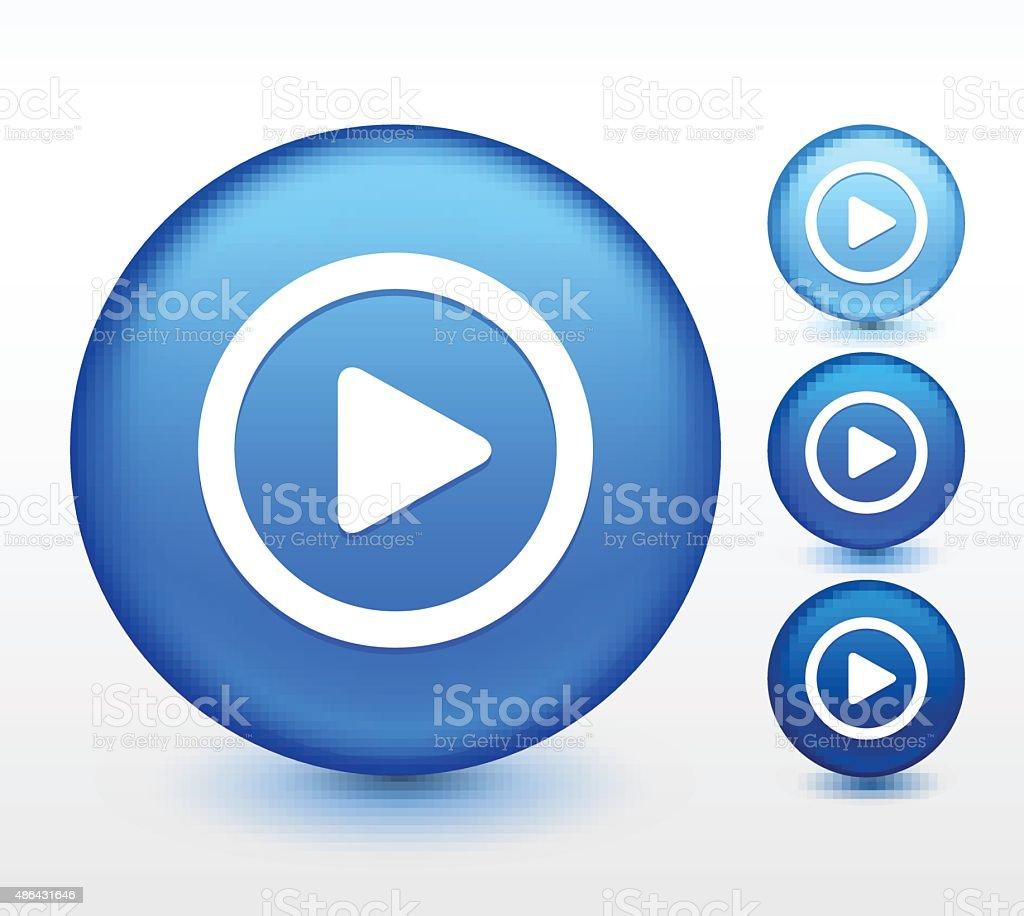 Play on Blue Round Button vector art illustration