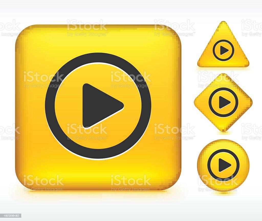 Jeu de boutons jaune - Illustration vectorielle