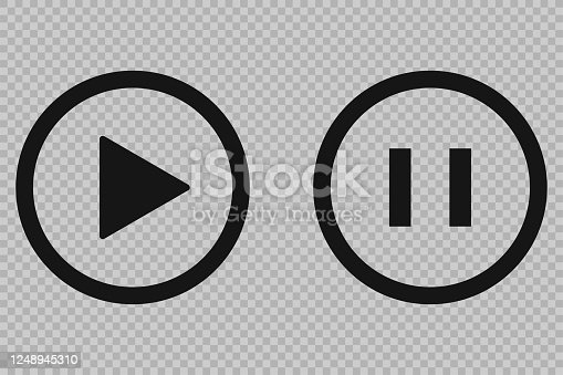 istock Play pause vector button, transparent background. Media icon. 1248945310