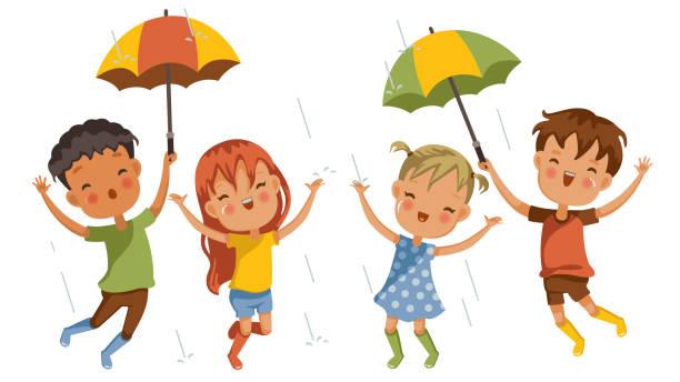 play rain - kids playing in rain stock illustrations, clip art, cartoons, & icons