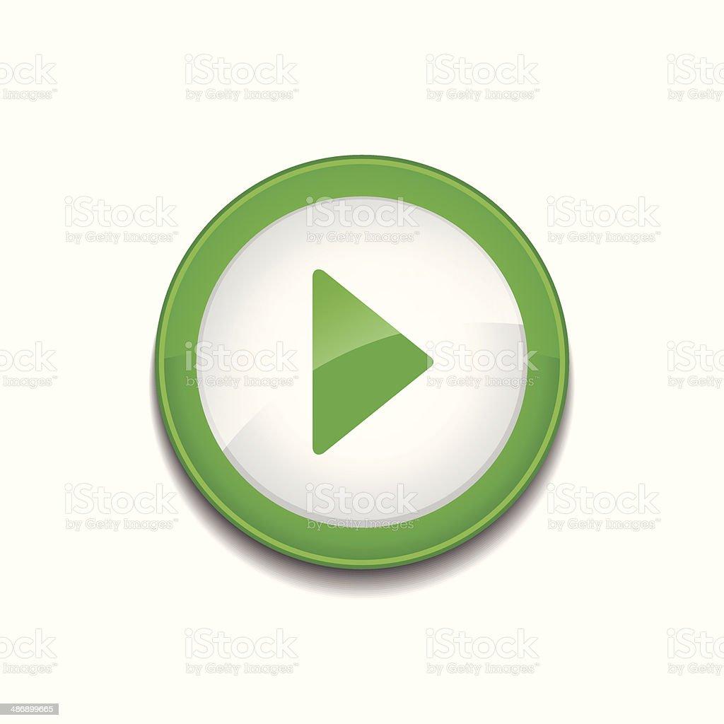 Jeu de bouton icône circulaire vecteur vert - Illustration vectorielle