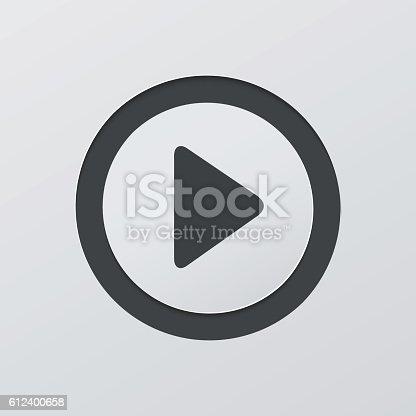Play sign vector circle button web icon.