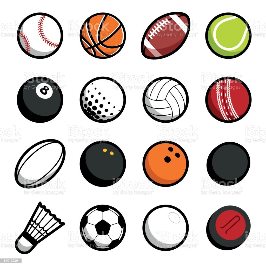 Play Sport Balls Icon Set Isolated Objects On White