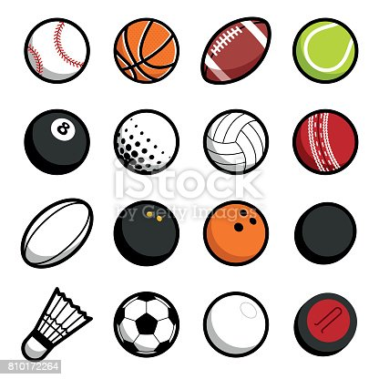 Vector hot play sport balls concept symbol set of isolated icons