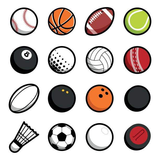 Play sport balls icon set isolated objects on white background Vector hot play sport balls concept symbol set of isolated icons racket stock illustrations
