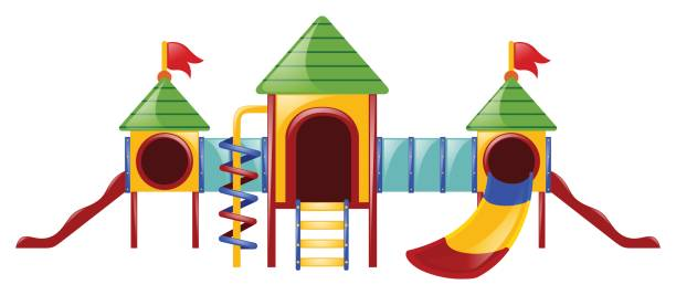 play station with three slides - monkey bars stock illustrations, clip art, cartoons, & icons